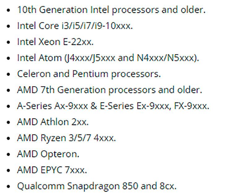 Опубликован список процессоров, совместимых с грядущим крупным обновлением Windows 10