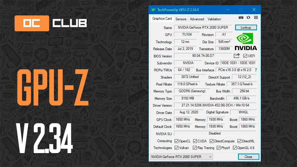 Утилита GPU-Z v2.34 обзавелась поддержкой видеокарт NVIDIA Ampere и не только