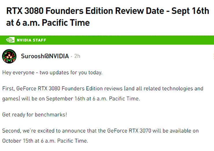 NVIDIA: релиз GeForce RTX 3070 состоится 15 октября, а обзоры GeForce RTX 3080 чуть-чуть задержатся