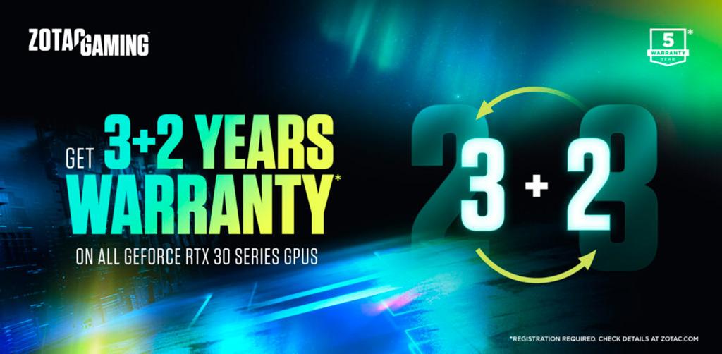 Zotac сопровождает видеокарты GeForce RTX 3000 3-летней гарантией, и даже 5-летней!