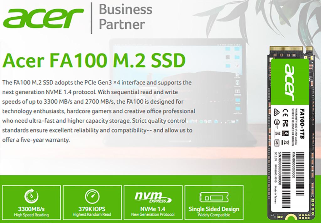 Acer FA100 1 ТБ: обзор. Изучаем дебют Acer в сегменте SSD