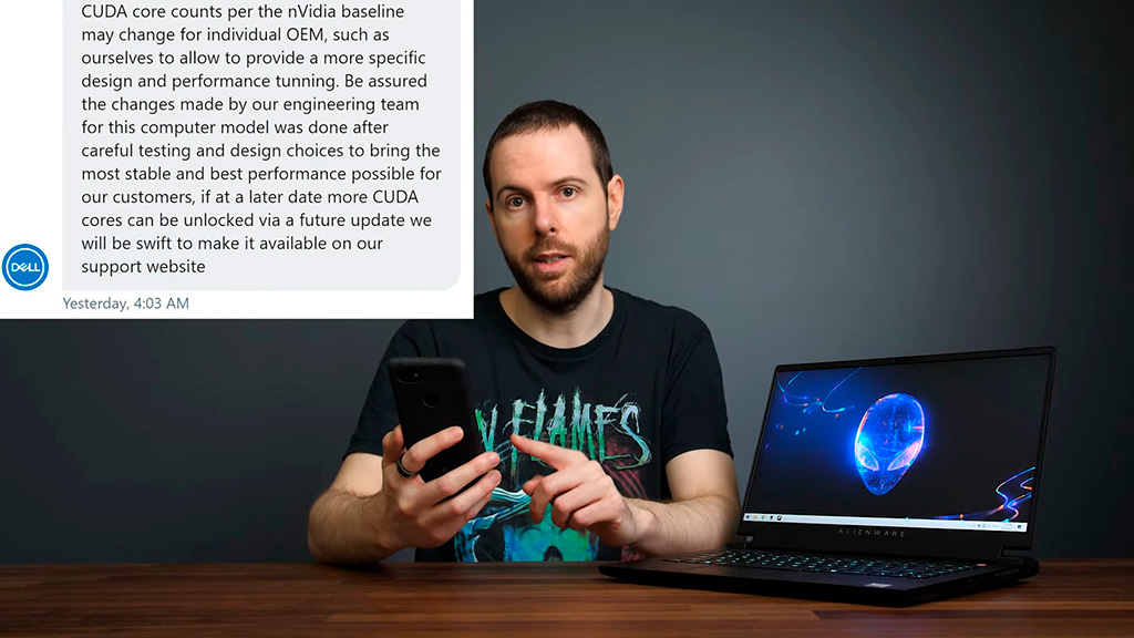 Dell прояснила ситуацию с урезанной RTX 3070 в ноутбуке Alienware m15 R5