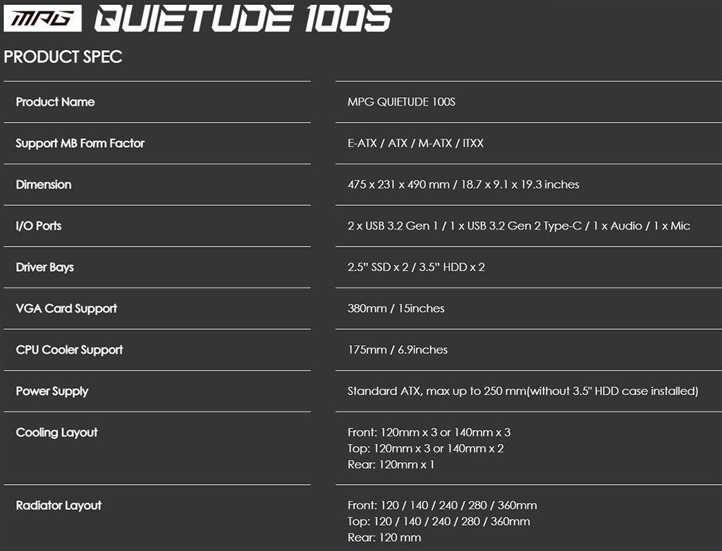 Корпус MSI MPG Quietude 100S получил шумоизоляцию