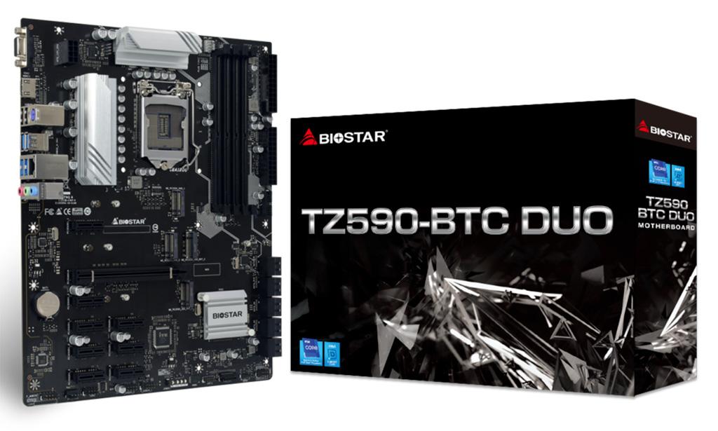 Biostar TZ590-BTC Duo – универсальная плата для майнинга с кучей PCI-E и SATA