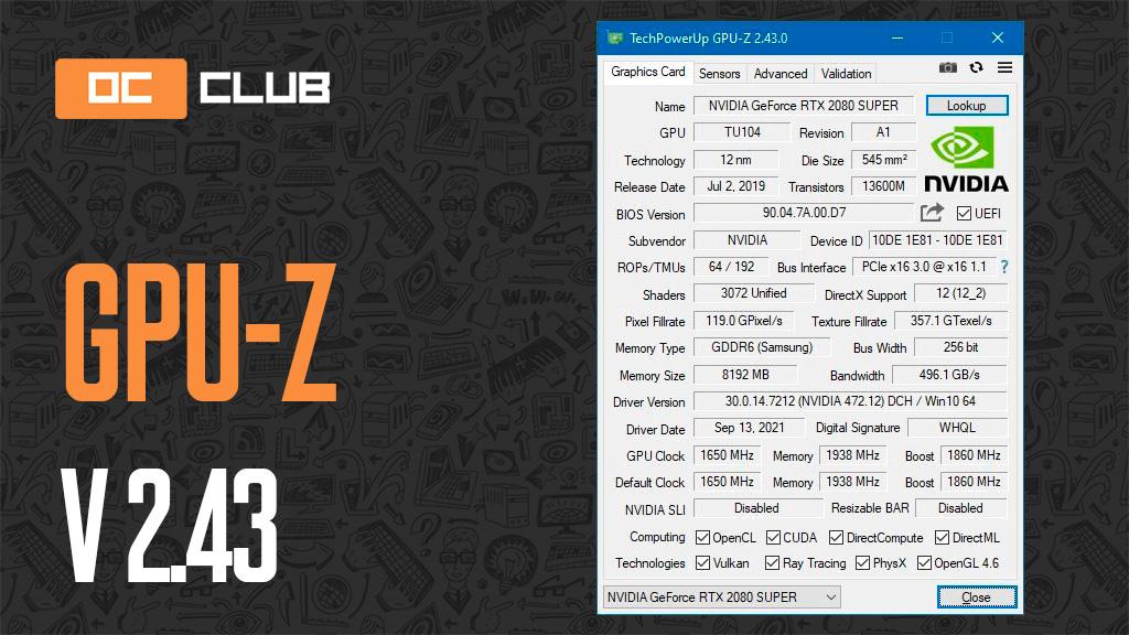 Утилита GPU-Z обновлена до версии 2.43.0