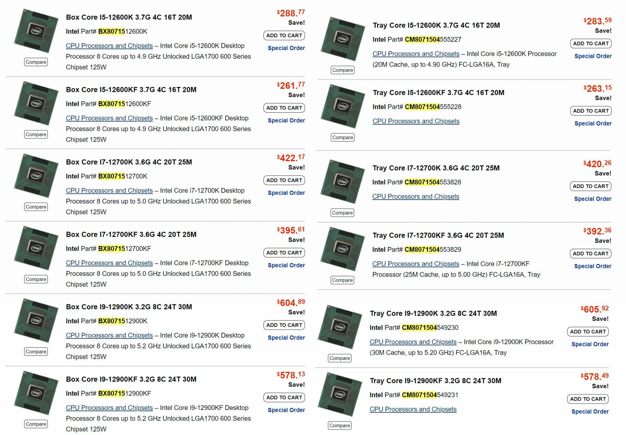 Американский магазин раскрыл рекомендованные цены Intel Core 12-го поколения