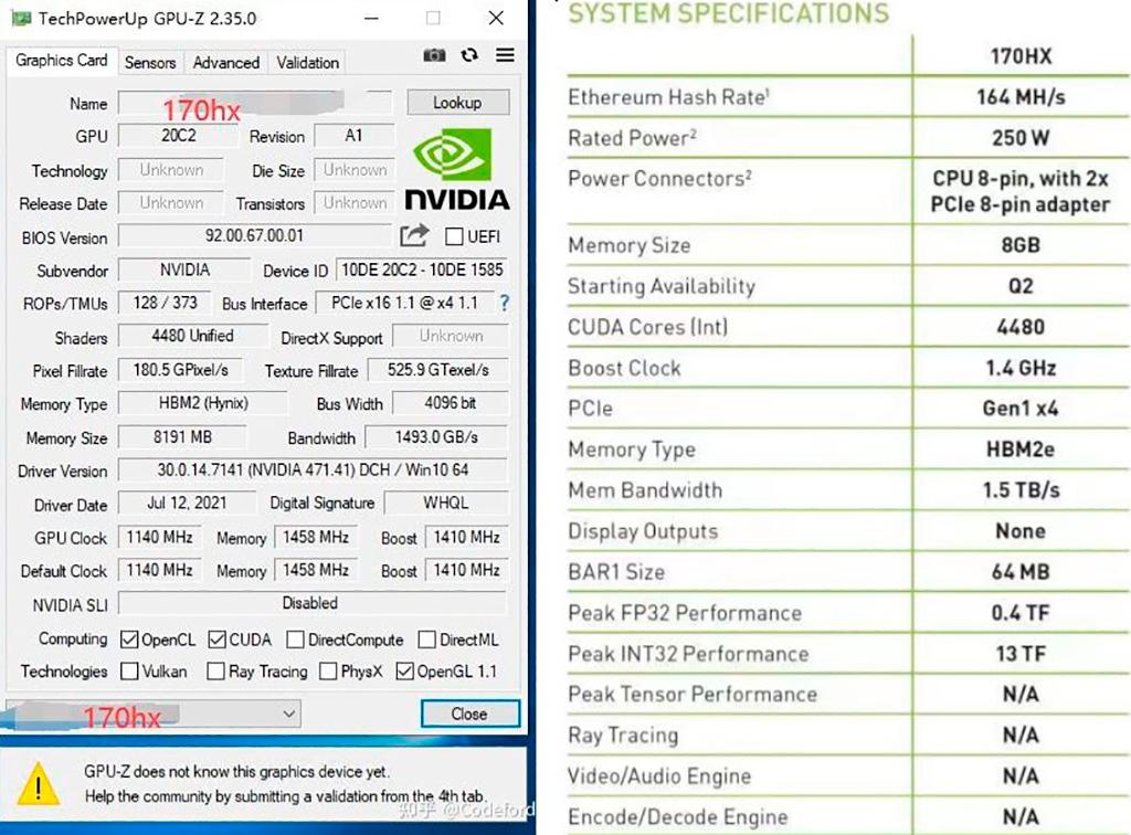 NVIDIA CMP 170HX обеспечивает 164 MH/s при майнинге Ethereum