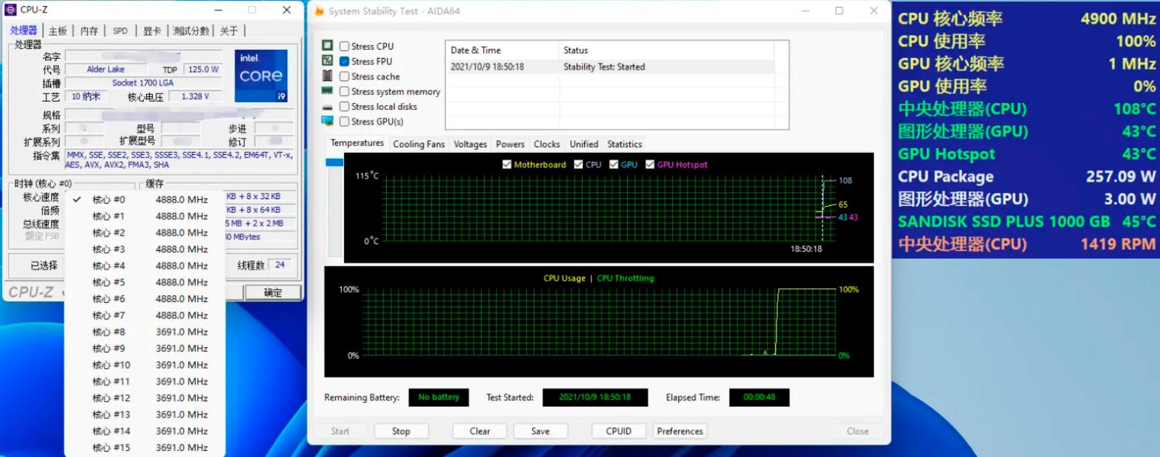 В AIDA64 процессор Core i9-12900K потребляет 257 Вт + тесты с памятью DDR4-3600